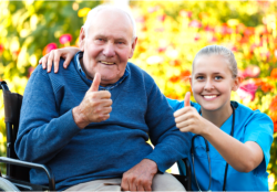 a nurse and an old man showing their thumbs up